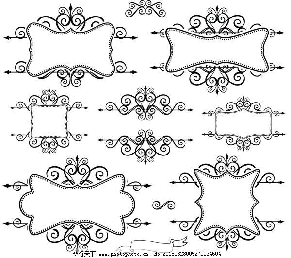 欧式复古手绘线描边框
