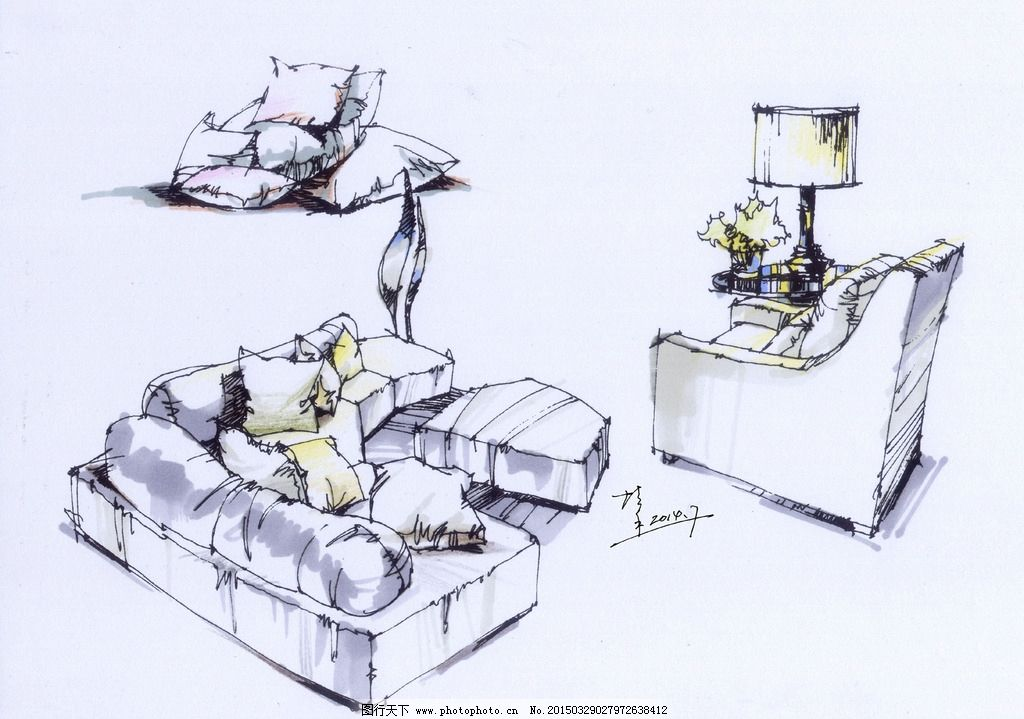 钢笔速写 室内手绘 室内钢笔速写 室内设计手绘 软装钢笔速写 夏培禾