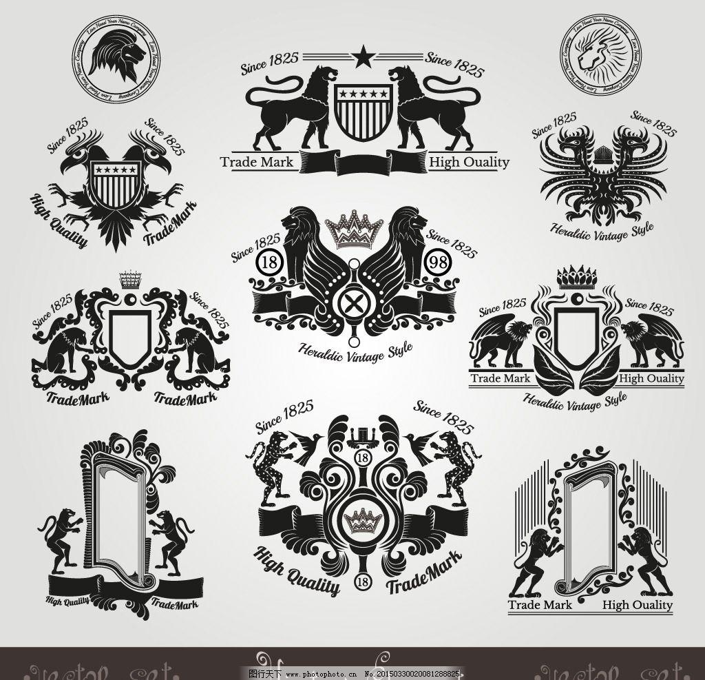 盾牌 勋章 狮子 老鹰 边框 装饰边框 图腾 皇冠 王冠 花纹 花边 手绘