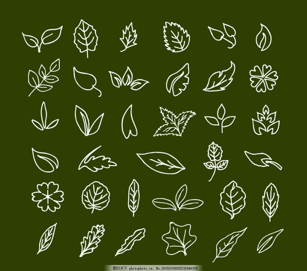 手绘树叶设计矢量素材 手绘 树叶 叶子 植物 插画 四叶草 幸运 落叶