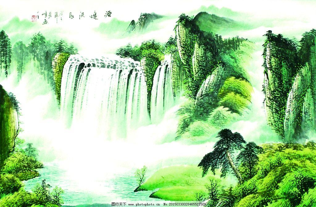 山水图 沙发背景墙 电视背景墙 装饰画 艺术画 中式 瓷砖背景画