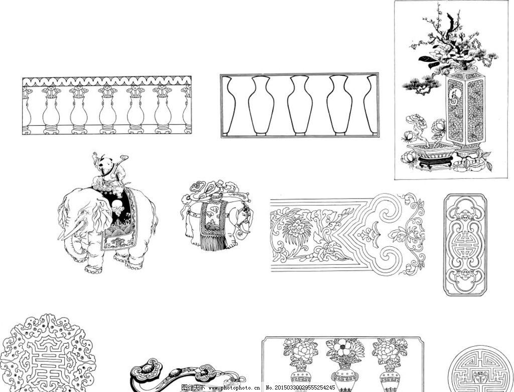 矢量古典佛教花纹图片
