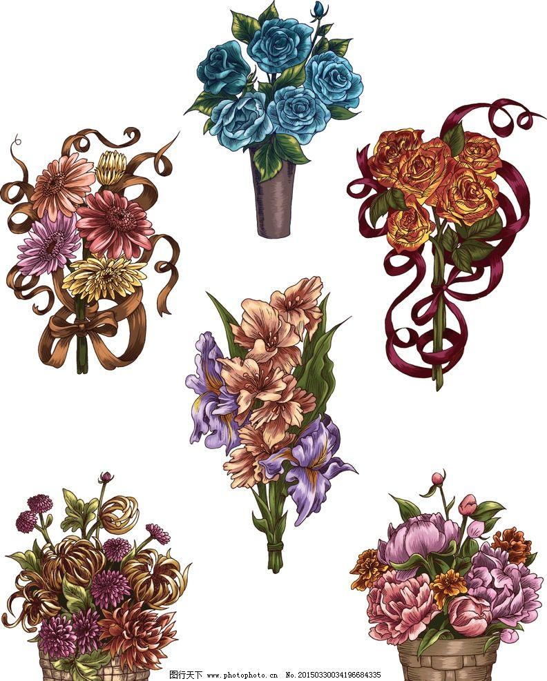手绘花卉 花朵 鲜花 菊花 玫瑰花 花卉插图 设计 矢量 eps 设计 生物