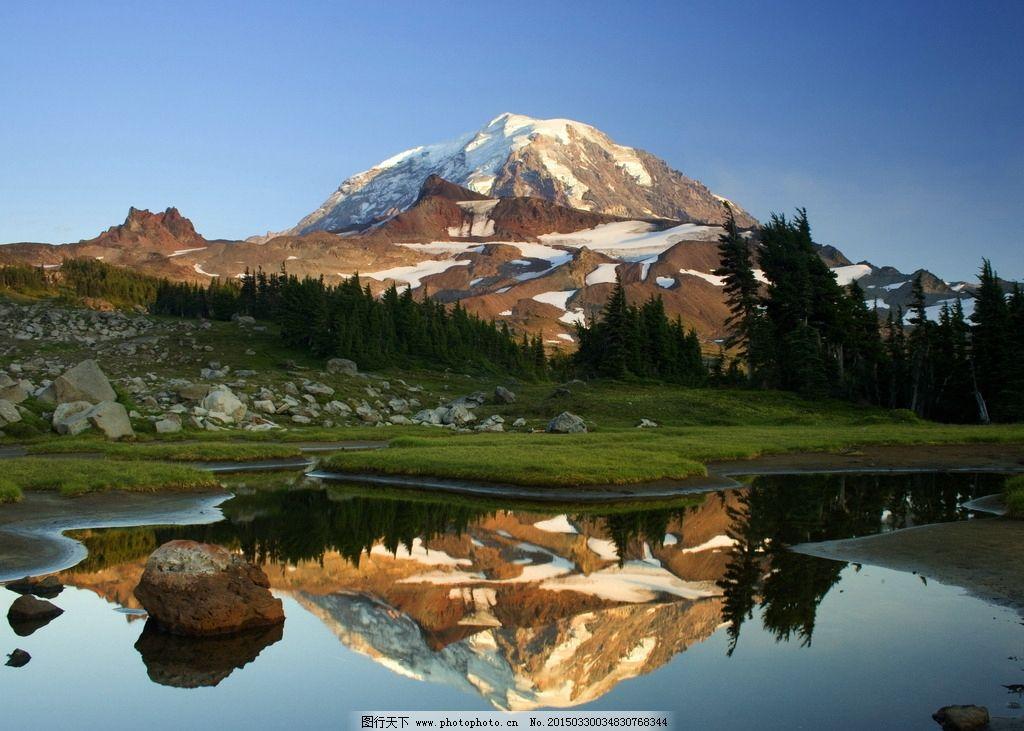 雪山 山石 石头山 石头 石块 树木 绿树 树林 山峦 倒影 山水风景