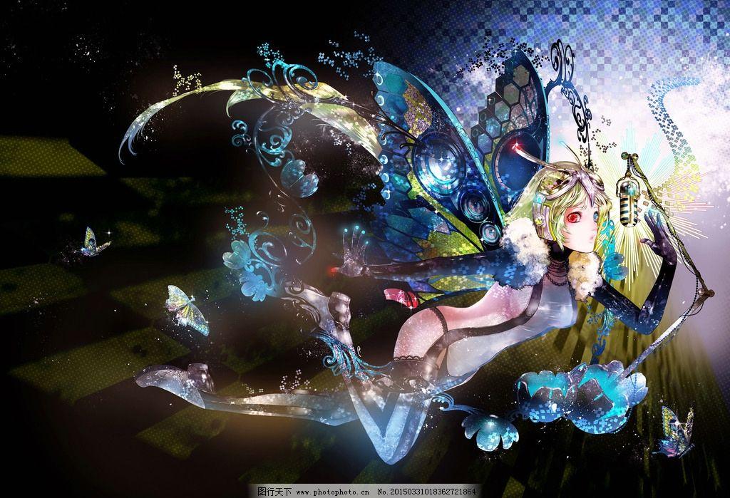 手绘美女图片,蝴蝶 翅膀 游戏美女 游戏原画 唯美-图