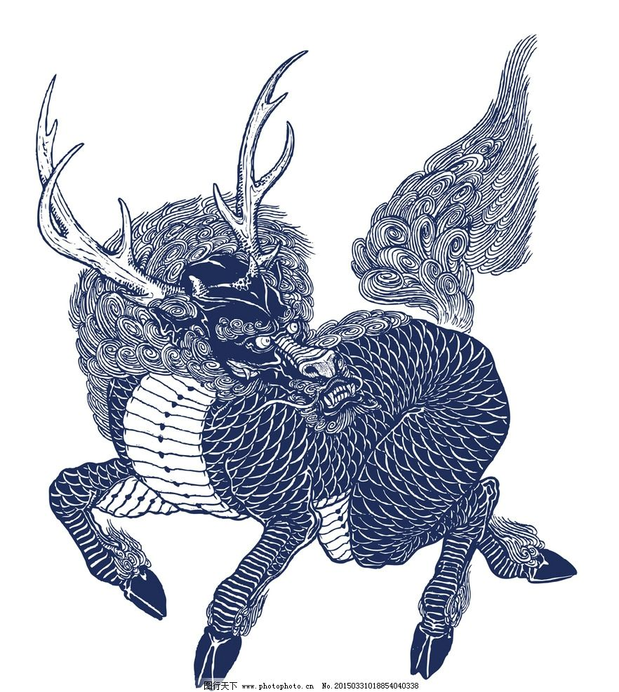 麒麟 纹身 刺青 神兽 祥瑞 四不像 文化艺术 传统文化 中国文化 设计图片