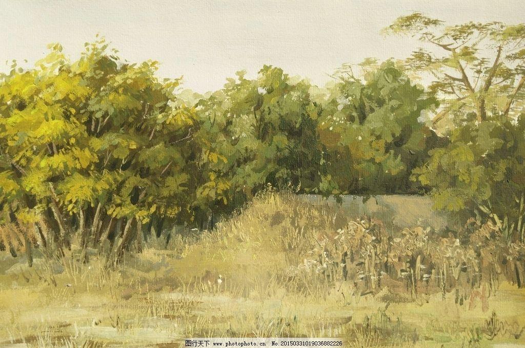 树林风景水粉画