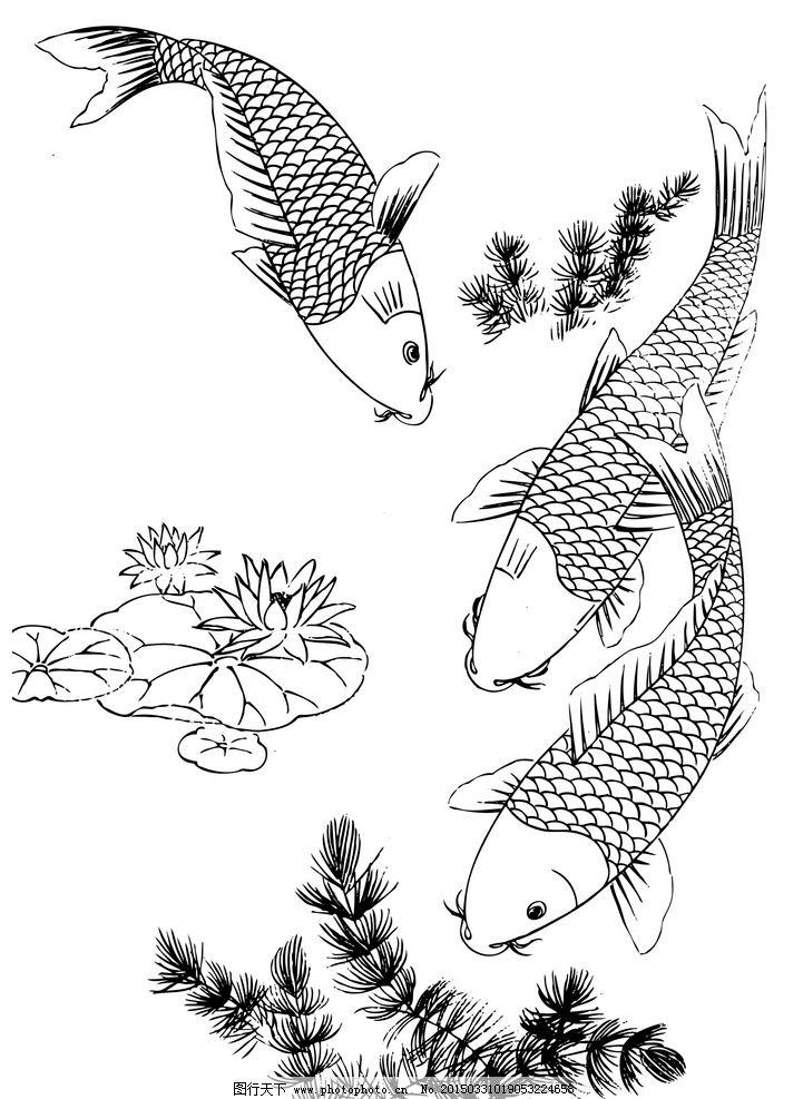 描 鱼 锦鲤 年年有鱼 工笔 鱼类 美术绘画