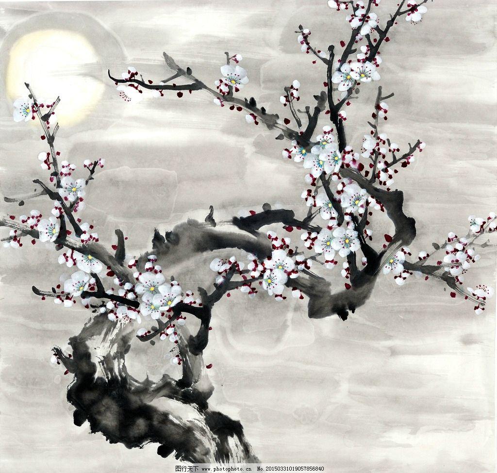 国画梅花图 花枝 月亮 装饰画 壁画 中国风 装饰画专辑
