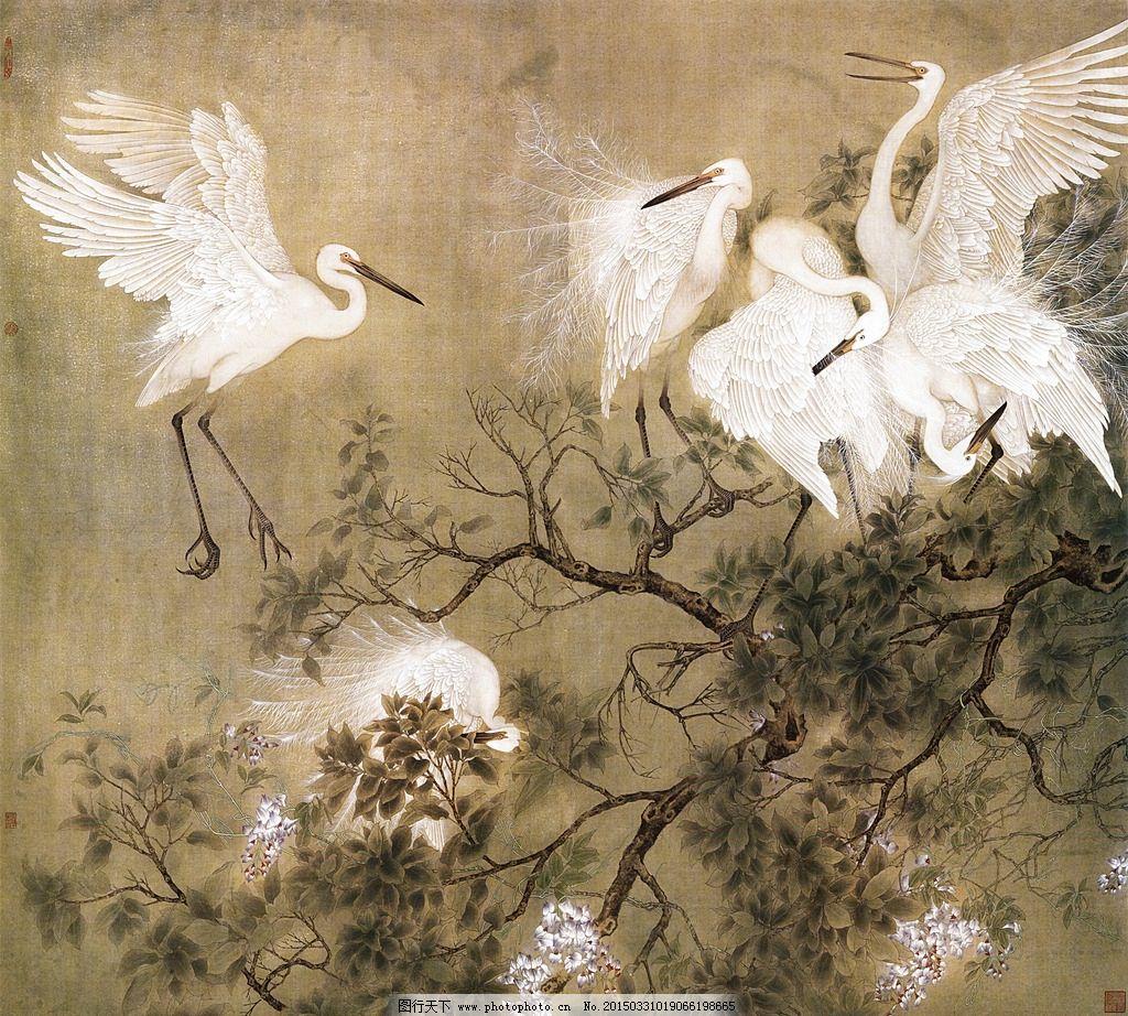 国画 飞鹤 树枝 花枝 壁画 装饰画 中国风 装饰画专辑 设计 文化艺术