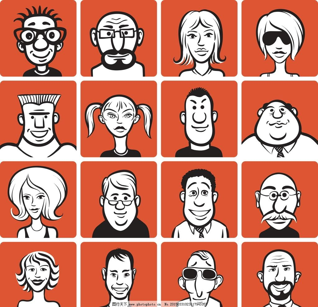 人物头像 卡通人脸 漫画 女性 手绘头像 男人头像 人物矢量素材 矢量