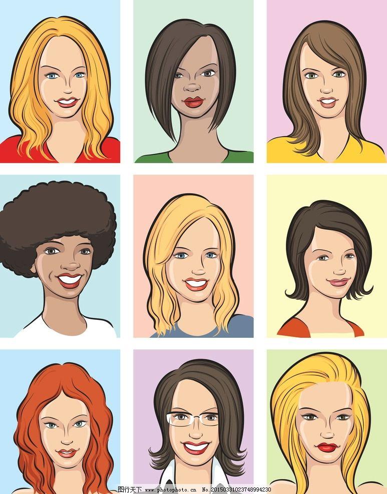 人物头像 卡通人脸 漫画 女性 少女 美女 手绘头像 女人头像 人物插图