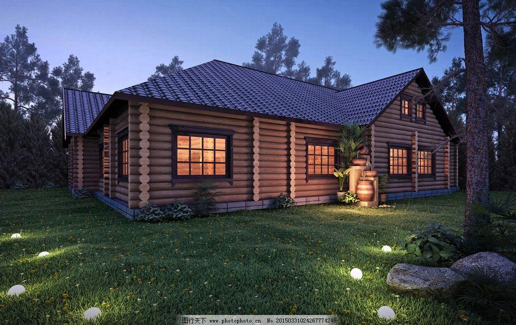 别墅 全模渲染 景观 住宅 夜景 灯光 小屋 丛林 设计 自然景观 建筑