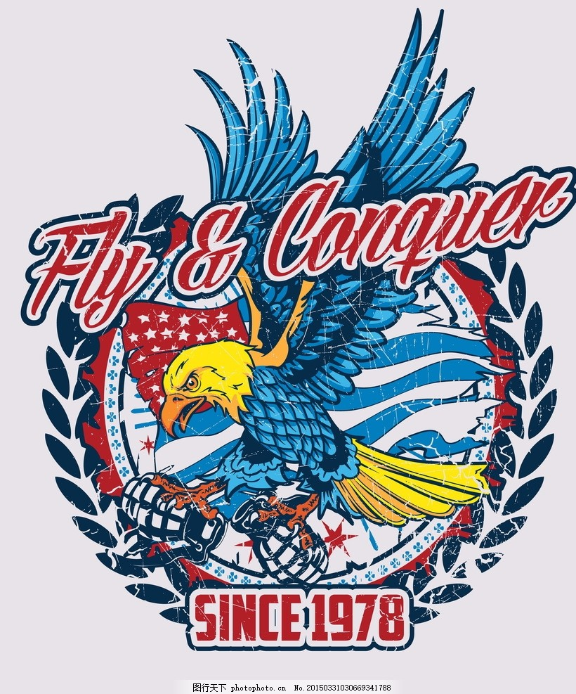 t恤图案 老鹰 美国国旗图案 手绘 服装图案 时尚 手绘插画 休闲