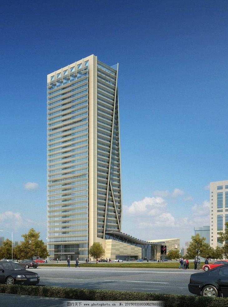 高楼效果图 楼房效果图 建筑设计 环境设计 大树 高楼 建筑效果 设计